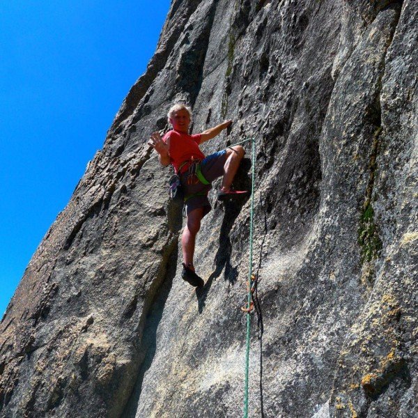 Mike Arechiga on the route to the left of the cave start route, 5.10a,...