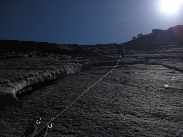 Looking up the 3rd pitch- Frank belaying TTradster.