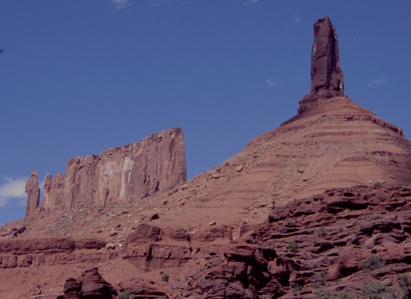 Priest, Nunns, and Castleton Towers. Moab, Utah