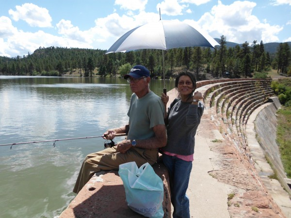 Layton and Karen, fishing east of Kingman, photo by Pat Ament