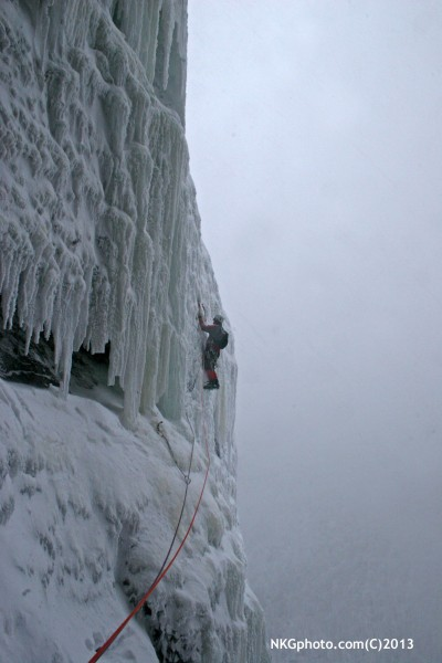 Wild steep ice on P3. Pleasuer climbing after the scarefest lower down...