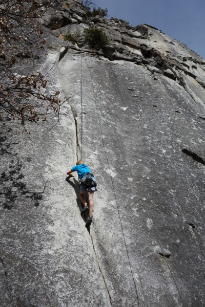 Cory on his first crack climb on his 2nd trip outside. Sherry's Crack ...
