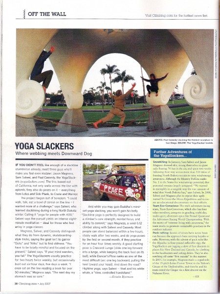 Climbing Magazine articial on my company.  www.YogaSlackers.com