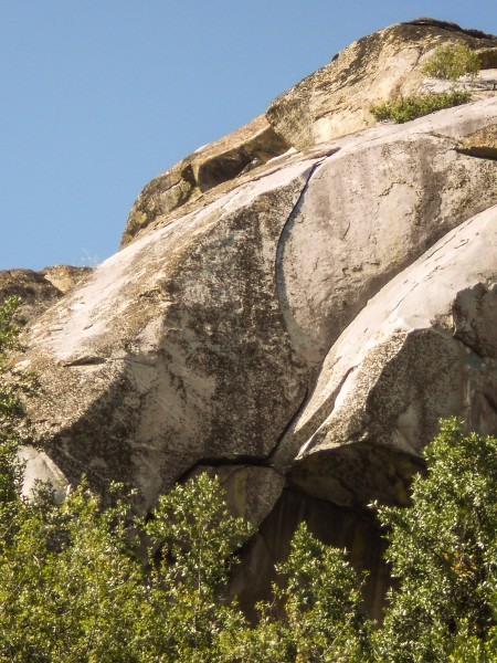 Crescent Arch. An off fingers, thin hands crack on Antenna Rock in the...