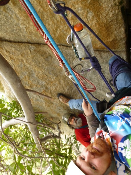 Just hangin' around at the belay before P3 of Hourglass Right