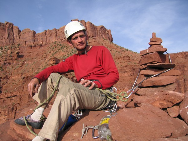 Belay adequate to Fischer Towers. Jacek on King Fischer, UT