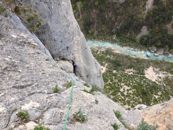 Loz pulling the overhang on pitch eight. He dislodged a flake on the t...