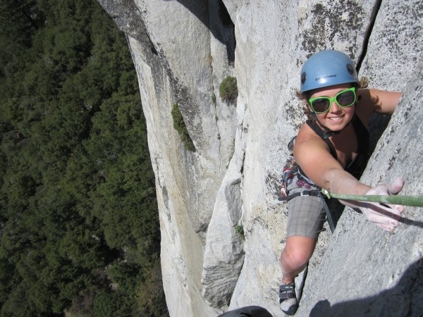 Having a blast on the top of p.2 on the Salathe Wall (photo by j. ...