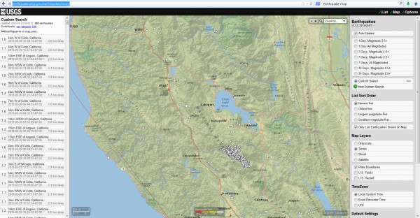 Earthquakes around Lake County, CA June 2012 to March 2013.
