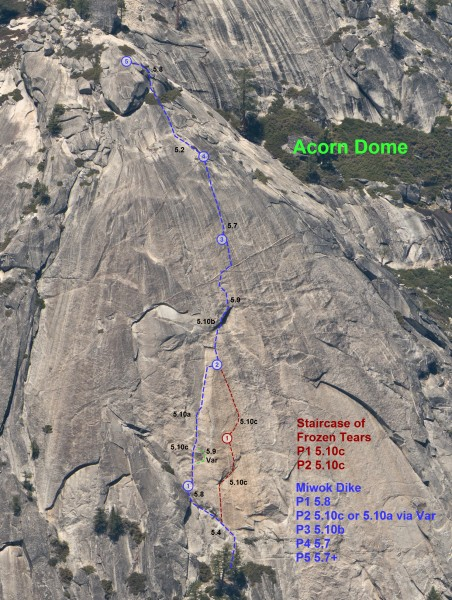 Acorn Dome Topo with all routes shown.