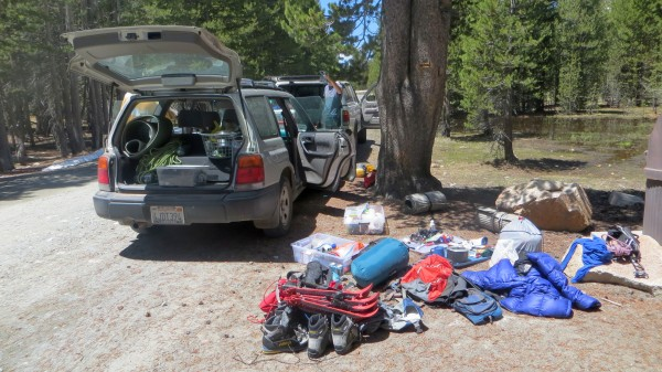 Packing up near Lembert after getting a Young Lakes permit