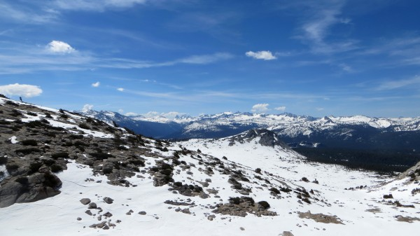 View of Cathedral Range from Ragged Peak saddle