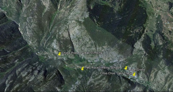 Google Earth image of the TMS Climbing School Locale in the Animas Can...
