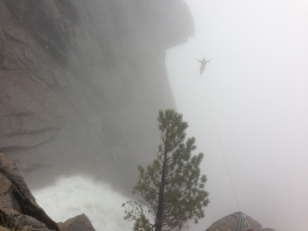 Highline slack line above Yosemite Falls.