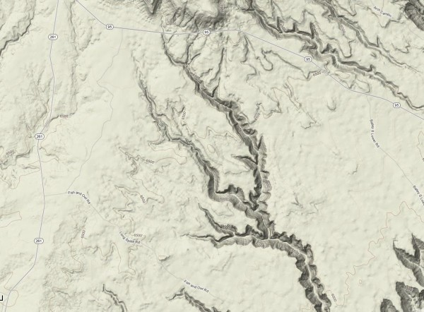 Topo of Fish and Owl from Google Maps