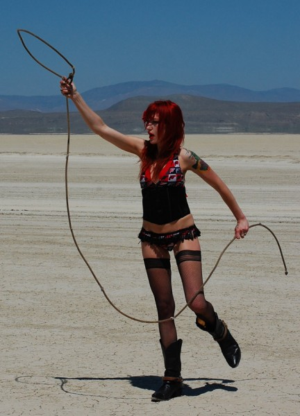 Kat Atomik getting ready to lasso it on the Black Rock Desert playa, J...