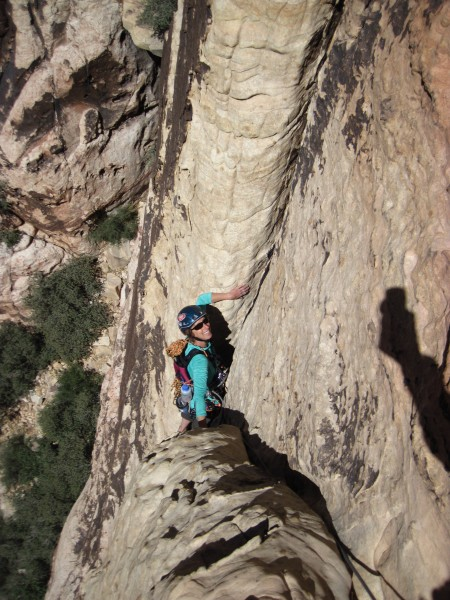 Cindi coming up to the 1st belay.