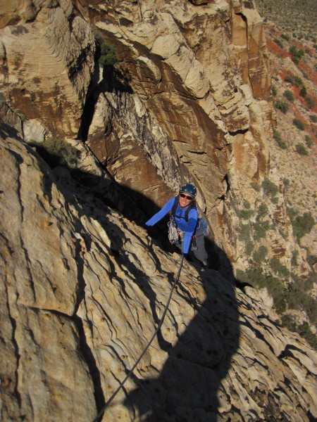Cindi just over the roof on the 3rd pitch of Johnny Vegas.
