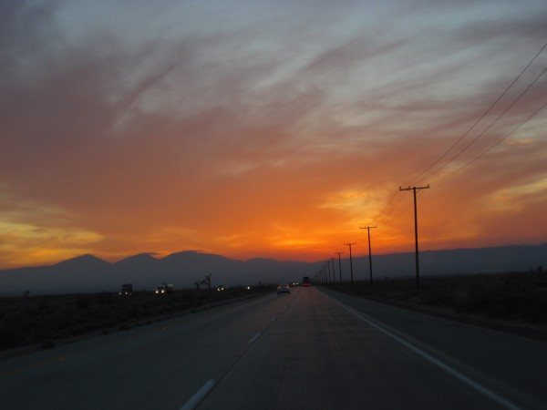 Homeward bound - west of Brawley, driving towards the sunset before sw...