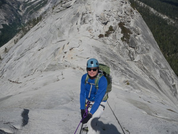 Mike descending Half Dome Cables