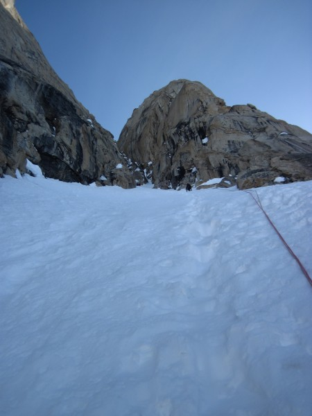 Steve on the sharp end - we simul-climbed the next 5 pitches up steep,...