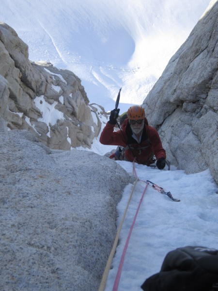 More excellent snow and ice coming up the 3rd pitch (pic courtesy ...