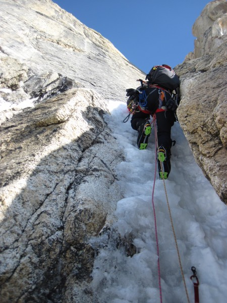 Steve leading a steepish icy bit.