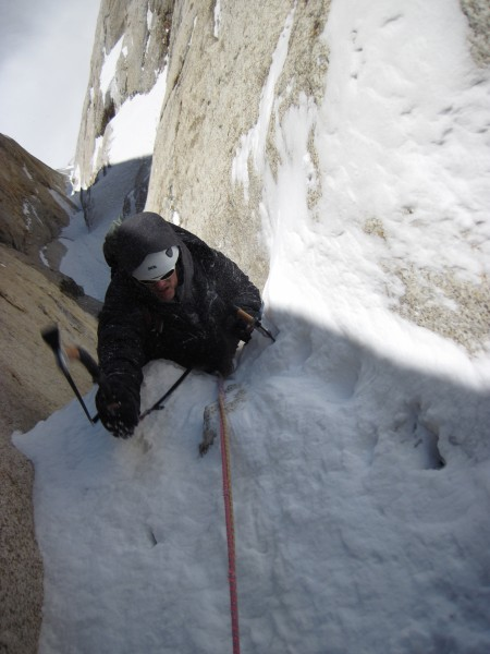 Steve coming onto lower angled terrain after a steep section. Note the...