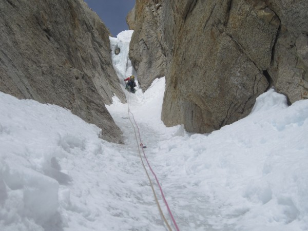 Heading for the crux chockstone. Swinging leads and simul-climbing wor...