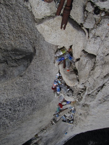 trash below the cables.  it is not as steep as it looks in the picture...