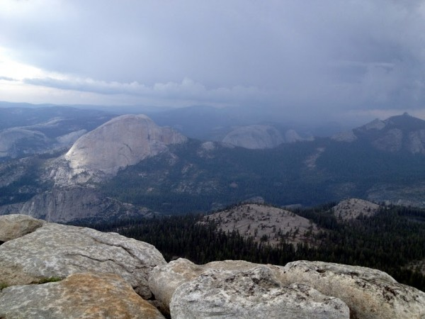 Rain and hail over Half Dome and into TM.