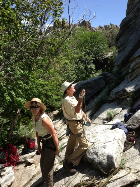 Fritz Belaying with Heidi