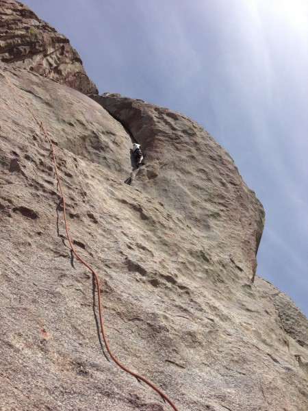 Jim on a 5.10- crack, south face of Castle