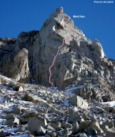 Cardinal Pinnacle - West Face 5.10a - High Sierra, California USA. Click to Enlarge