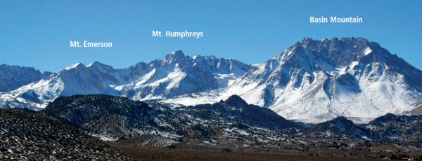 Overview of Mount Emerson, Mount Humphreys and Basin Mountain.