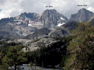 Mt. Ritter - Southeast Glacier Route 3rd Class - High Sierra, California USA. Click to Enlarge