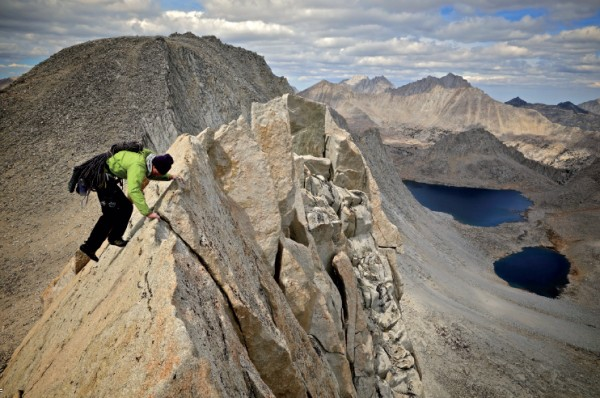 Mike Collins ridge traversing near the summit of Merriam Peak. 