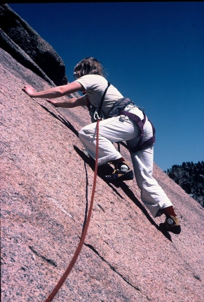 Anne Carrier on pitch 2 (5.9+) of Topographical Oceans, overal...