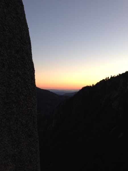 Sunset from Lurking Fear belay 14.