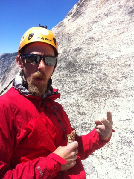 me chewing down a bar after the awesome slab roof pitch