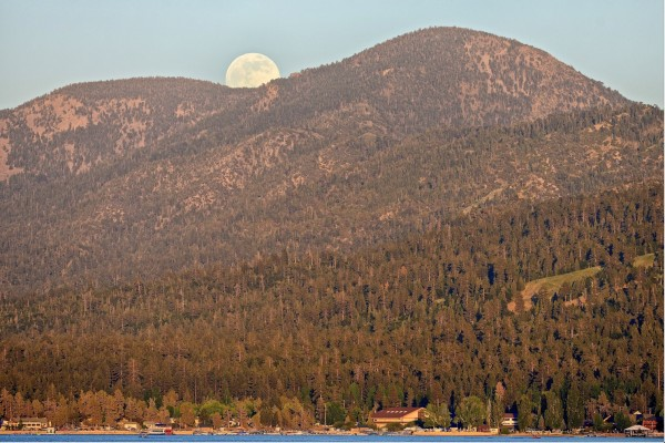 Moonrise over Sugarloaf Mt. and Big Bear Lake a few days ago