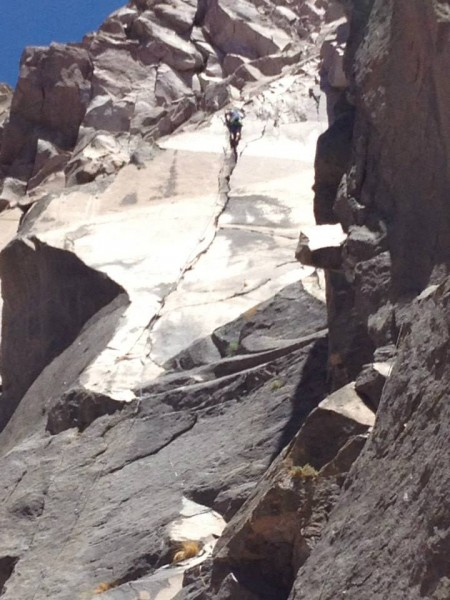 chuggin' up to the top of Slip 'n Slide, Owens River Gorge