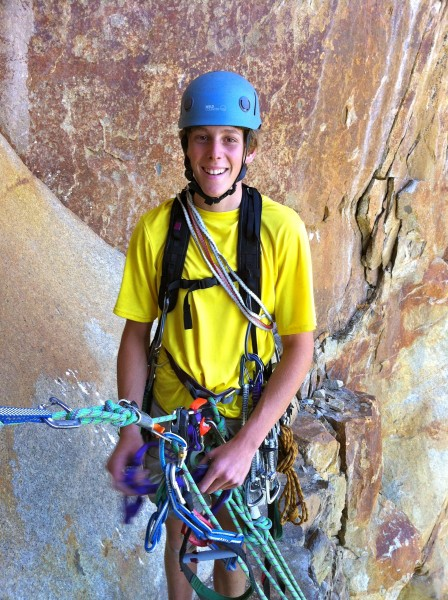 Mickey happy to be on a ledge instead of another hanging belay