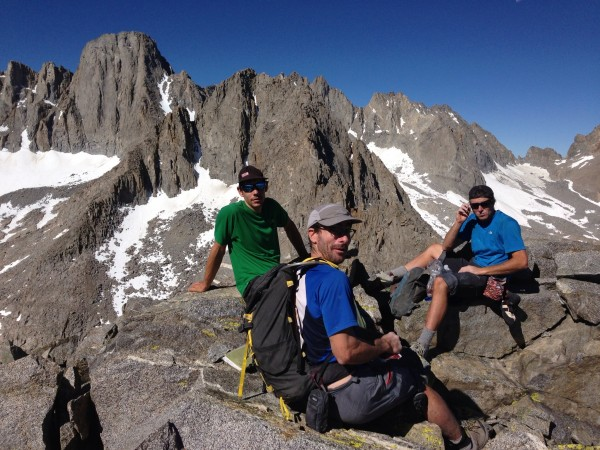 Summit of temple crag with Alex Honnold cedar wright and Sean leary
