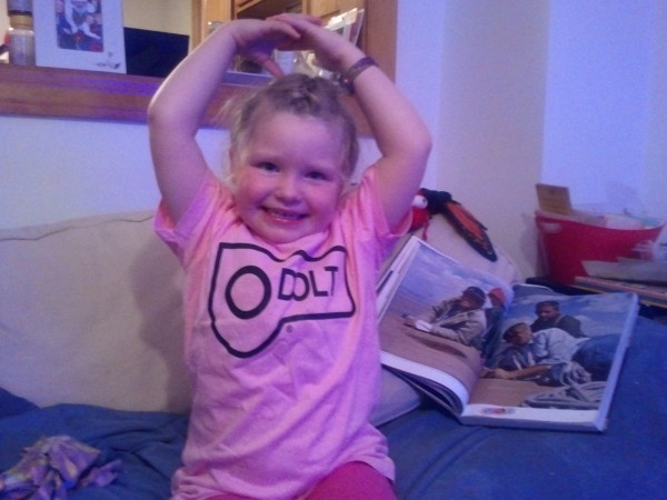 A PINK (woohoo!) t-shirt with Mama's daddy's name on it!!! (Note Crush...