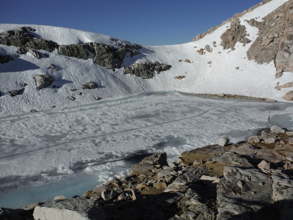 Lake at the toe of the W.Ridge, at ~12,000' (photo taken 6/4/13)