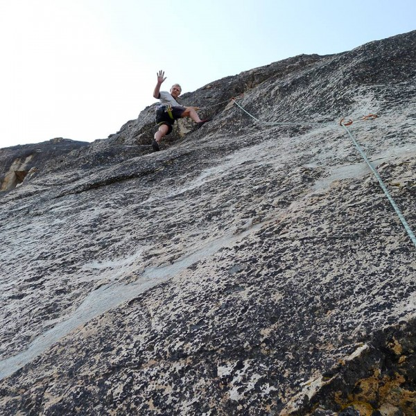 Mike Arechiga on some fun climb at Boulder Garden Slabs area.