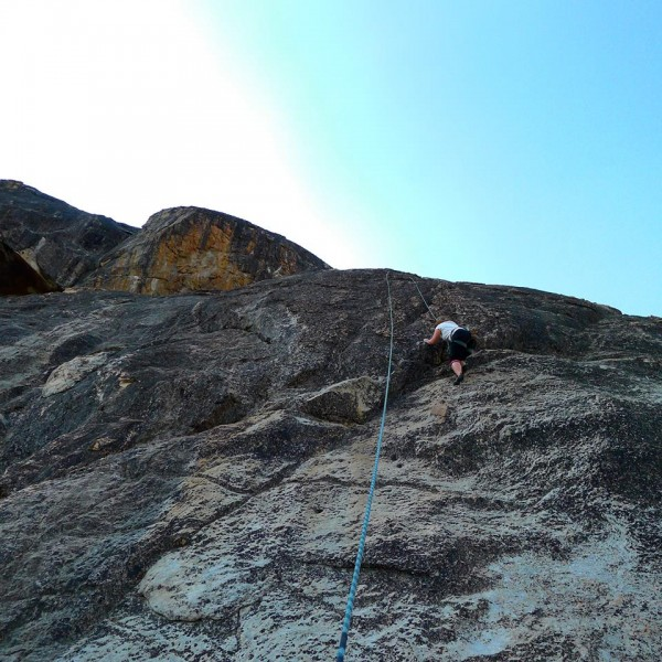 Amy Wilkins on some fun slab climb at Boulder Garden Slab area.