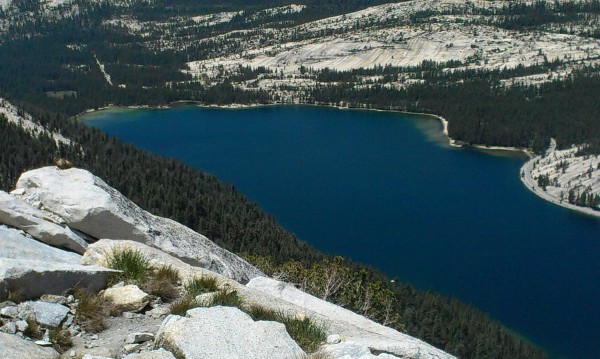About to rope up, looking down on Tenaya Lake and something furry caug...