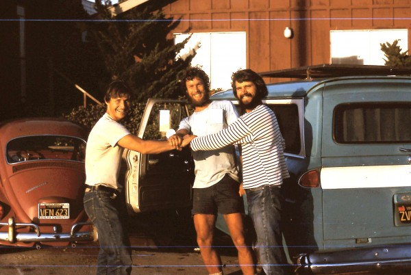 Dennis, me and Russ, 1974, just before starting the drive from CA to N...
